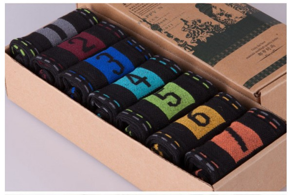 New Men's Cotton Socks Casual Mens Socks Breathable Sweat Personalized digital style happy socks 7 pairs \ lot no box (FREE SHIPPING)