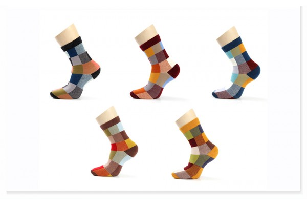 5 Pairs/Lot Combed Cotton Men's Socks Compression Socks Fashion Colorful Square Happy Dress Socks Men Size 39-45 (FREE SHIPPING)